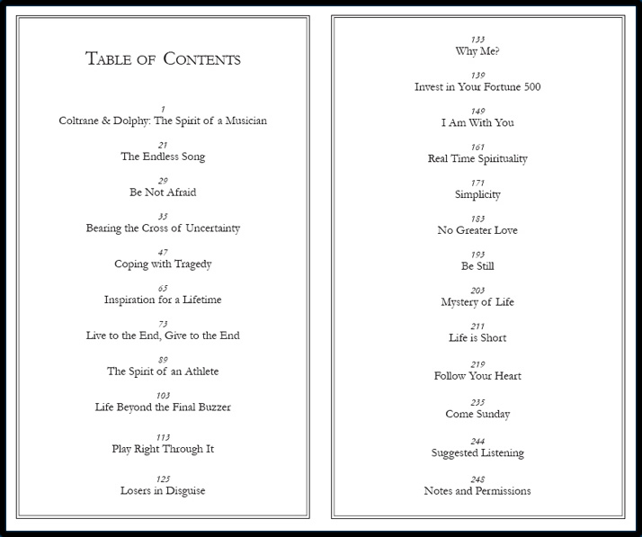 Table of Contents Page Spread